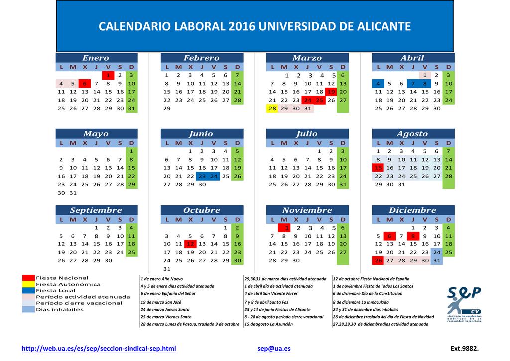 Calendario Ua.Calendario Laboral Ua 2016
