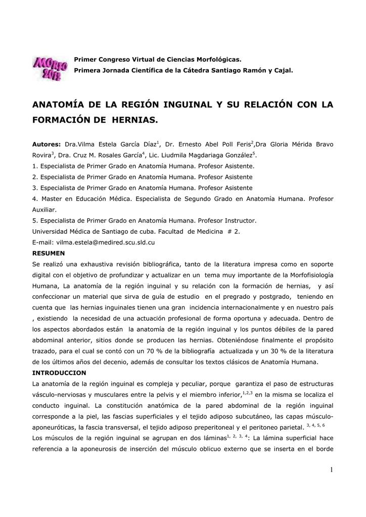 ANATOMÍA DE LA REGIÓN INGUINAL Y SU RELACIÓN CON LA