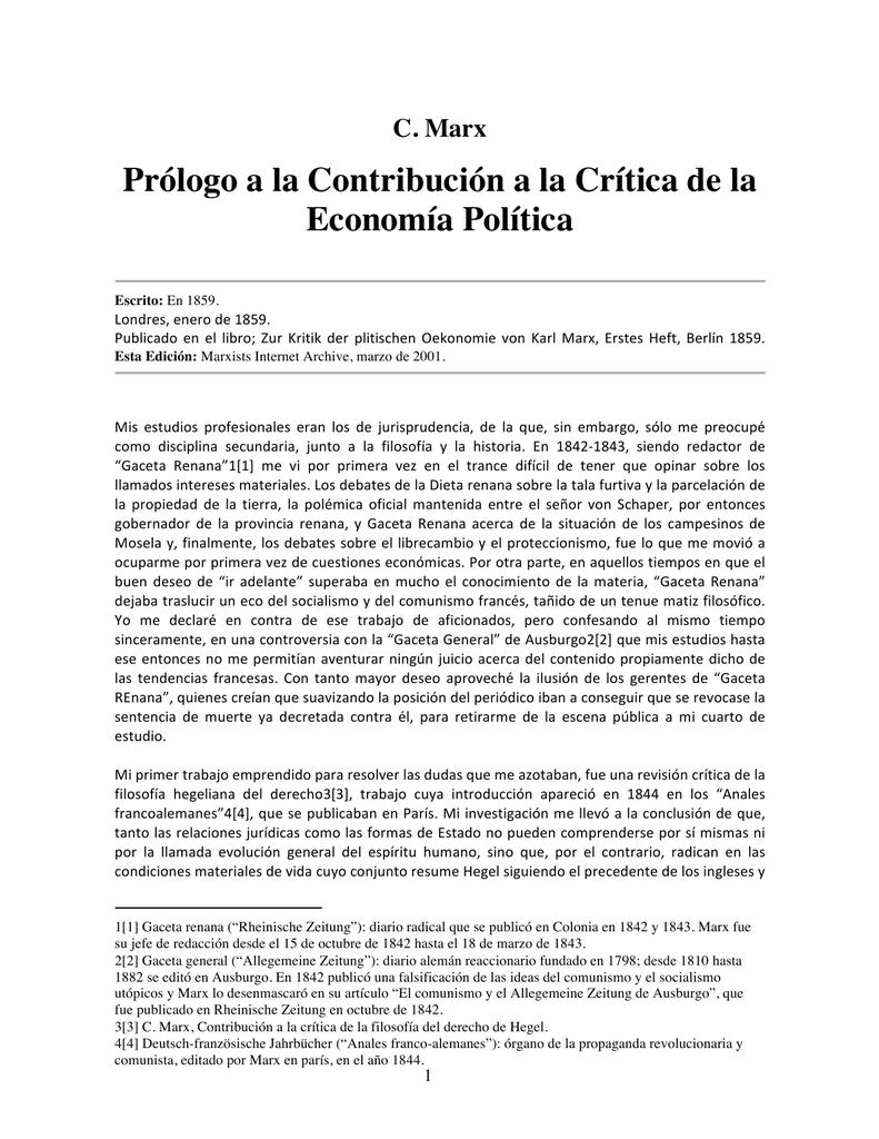 Prólogo a la Contribución a la Crítica de la Economía Política