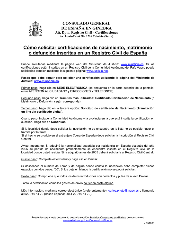 Como solicitar certificaciones de Registro Civil de España