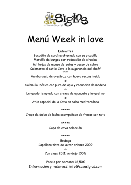 Menú Week in love