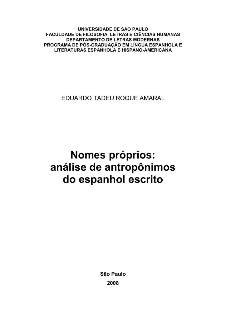Nomes prprios anlise de antropnimos do espanhol escrito fandeluxe Images