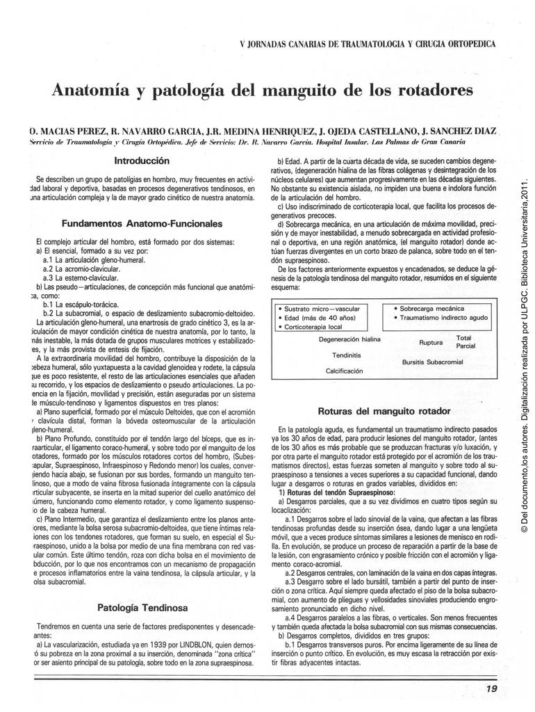 Anatomía y patología del manguito de los rotadores.