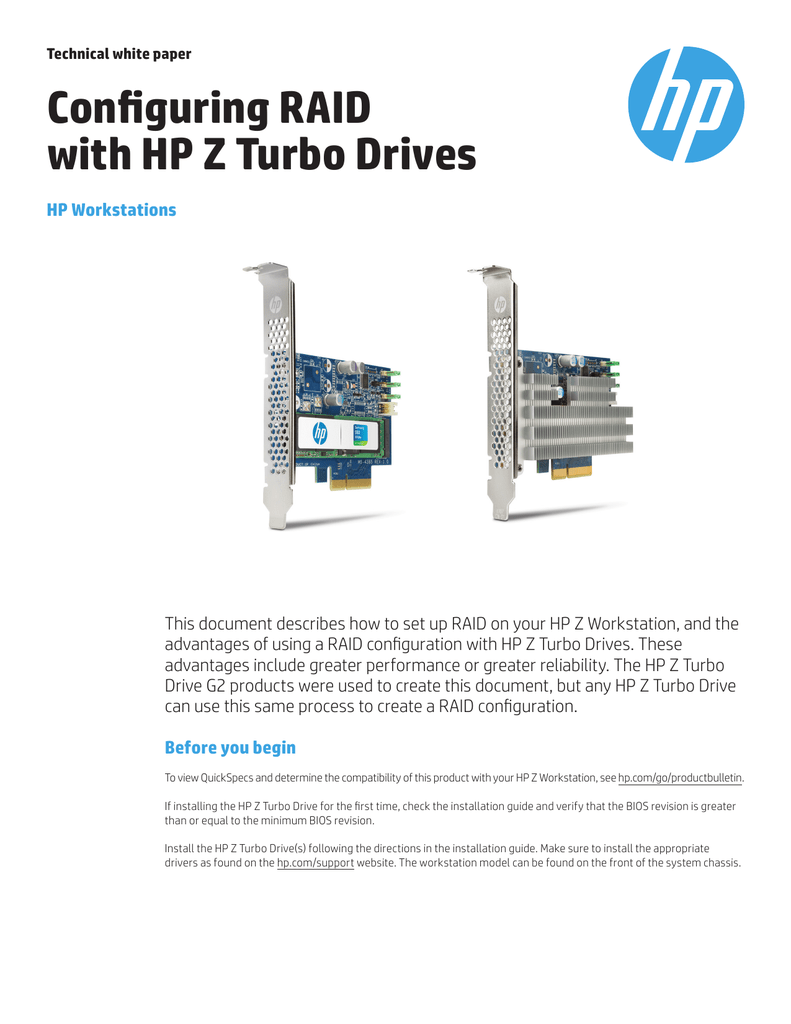 Configuring RAID with HP Z Turbo Drives