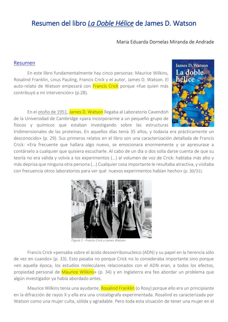 Resumen Del Libro La Doble Hélice De James D Watson