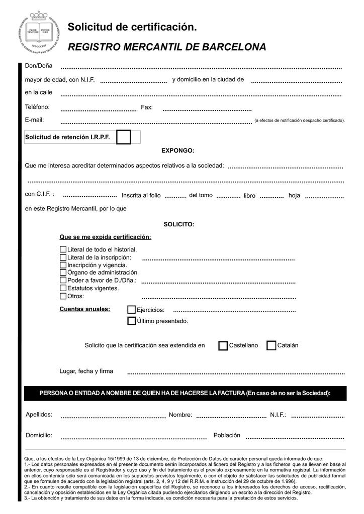 Solicitud De Certificación Registro Mercantil De Barcelona