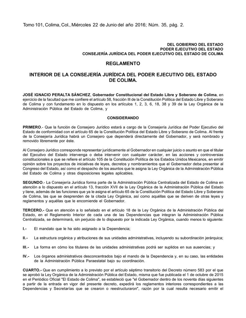 Reglamento Interior De La Consejería Jurídica Del Poder
