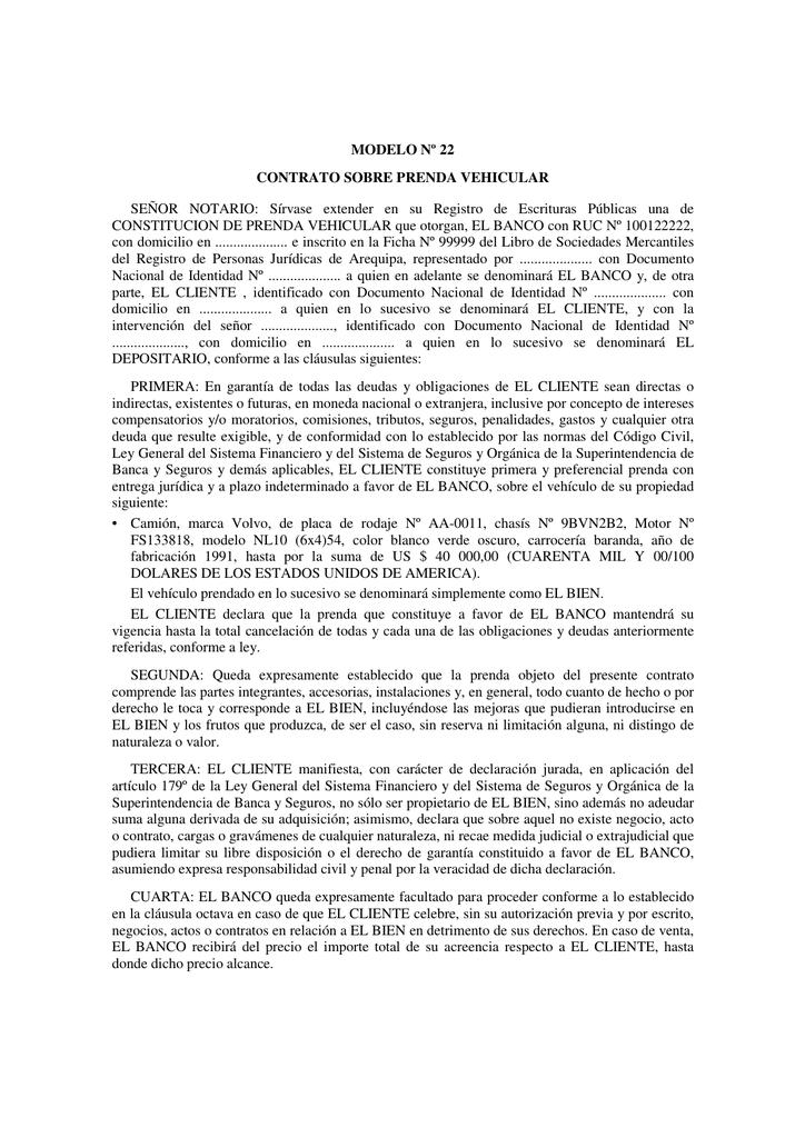 Modelo Nº 22 Contrato Sobre Prenda Vehicular