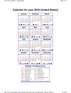 Calendar for year 2016 (United States)