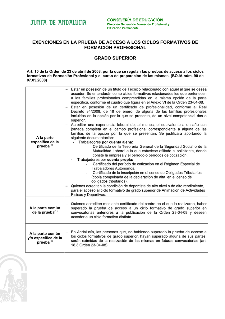 Exenciones En El Prueba De Acceso A Ciclos Superiores