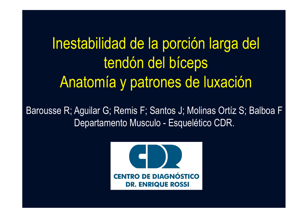 inestabilidad de la porcion larga del tendon del biceps