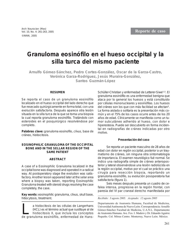 Granuloma eosinófilo en el hueso occipital y la silla turca del mismo