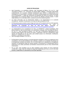 AVISO DE PRIVACIDAD • Intel Corporation y su subsidiaria