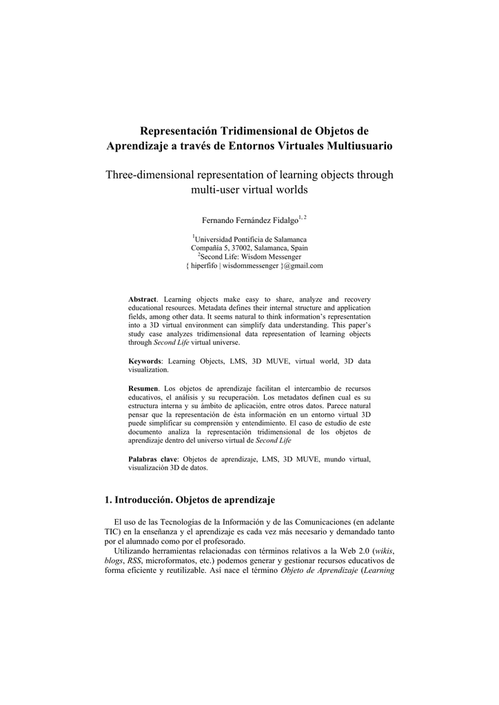 Representación Tridimensional De Objetos De Aprendizaje A Través
