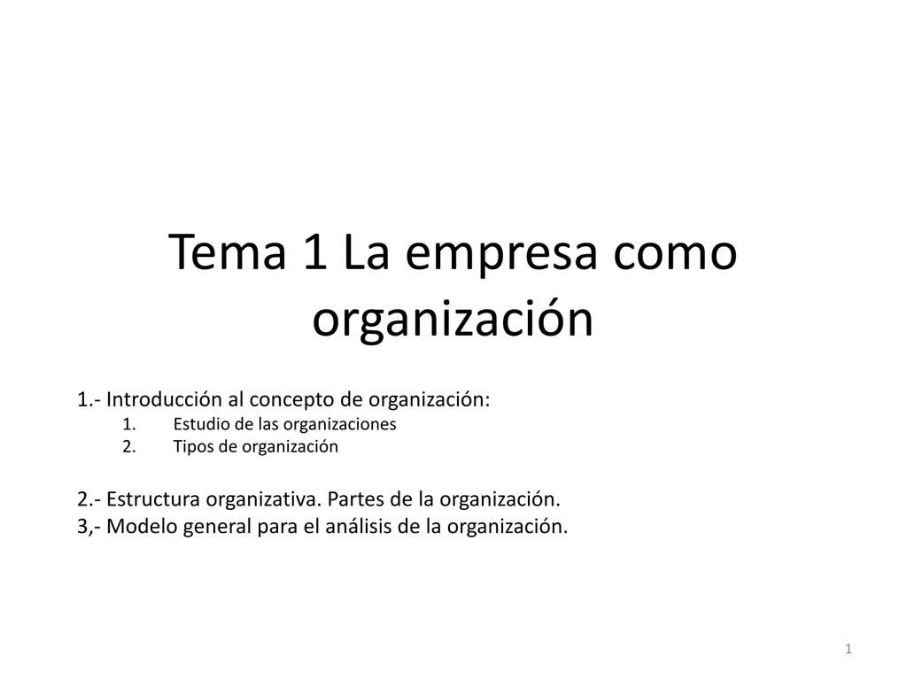 Tema 1 La Empresa Como Organización