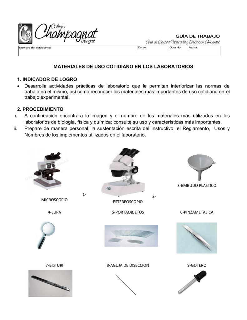 MATERIALES DE USO COTIDIANO EN LOS LABORATORIOS 1