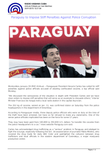 Paraguay to Impose Stiff Penalties Against Police Corruption