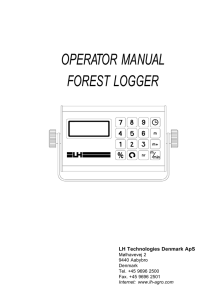 OPERATOR MANUAL FOREST LOGGER