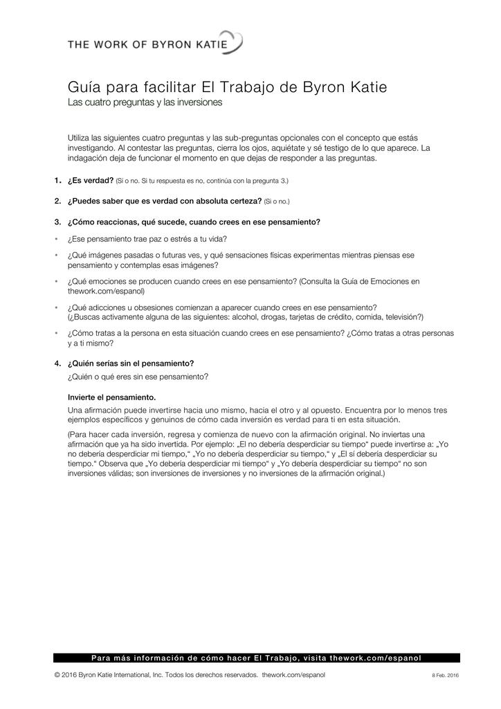 Guía para facilitar El Trabajo de Byron Katie