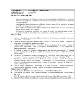 ASIGNATURA ESTADÍSTICA INFERENCIAL PRERREQUISITOS