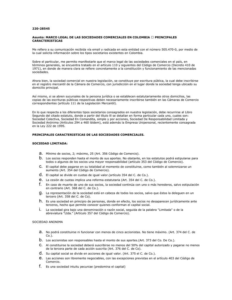 Marco Legal De Las Sociedades Comerciales En Colombia