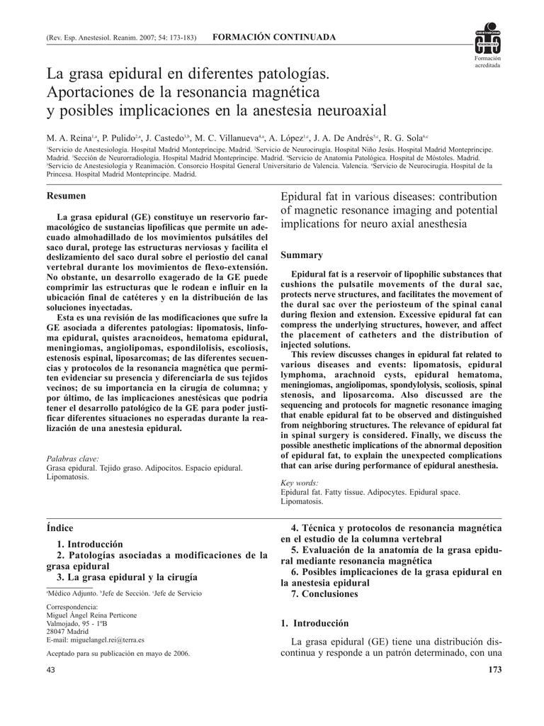 La grasa epidural en diferentes patologías. Aportaciones de