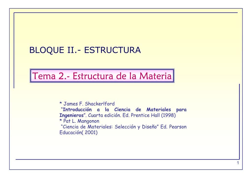 Tema 2 Estructura De La Materia