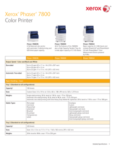 WorkCentre 7800 Detailed Specifications
