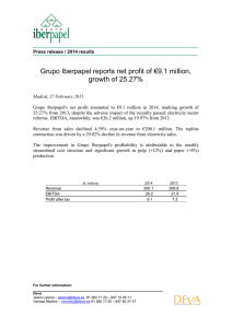 Grupo Iberpapel reports net profit of €9.1 million, growth of 25.27%