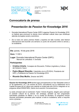 Convocatoria de prensa Presentación de Passion for Knowledge 2016