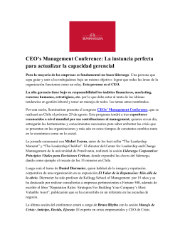Vea Nota de Prensa de CEOs` Management Conference