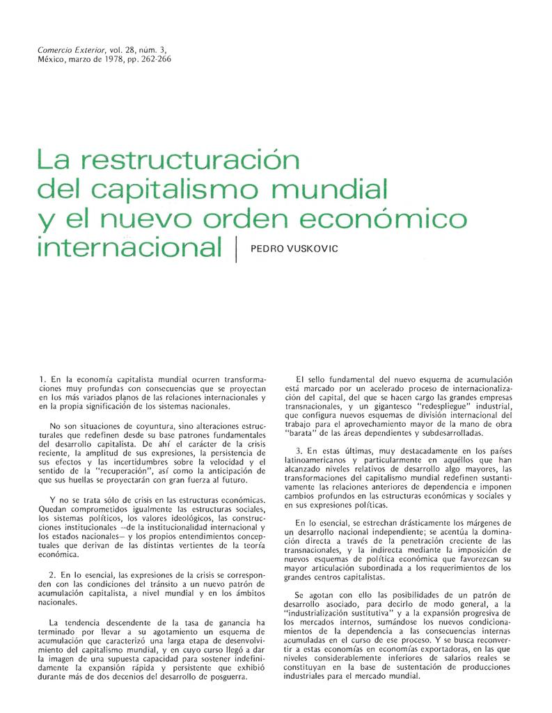 la restructuracion del capitalismo mundial y el nuevo orden