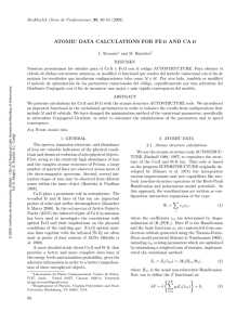 atomic data calculations for fe ii and ca ii