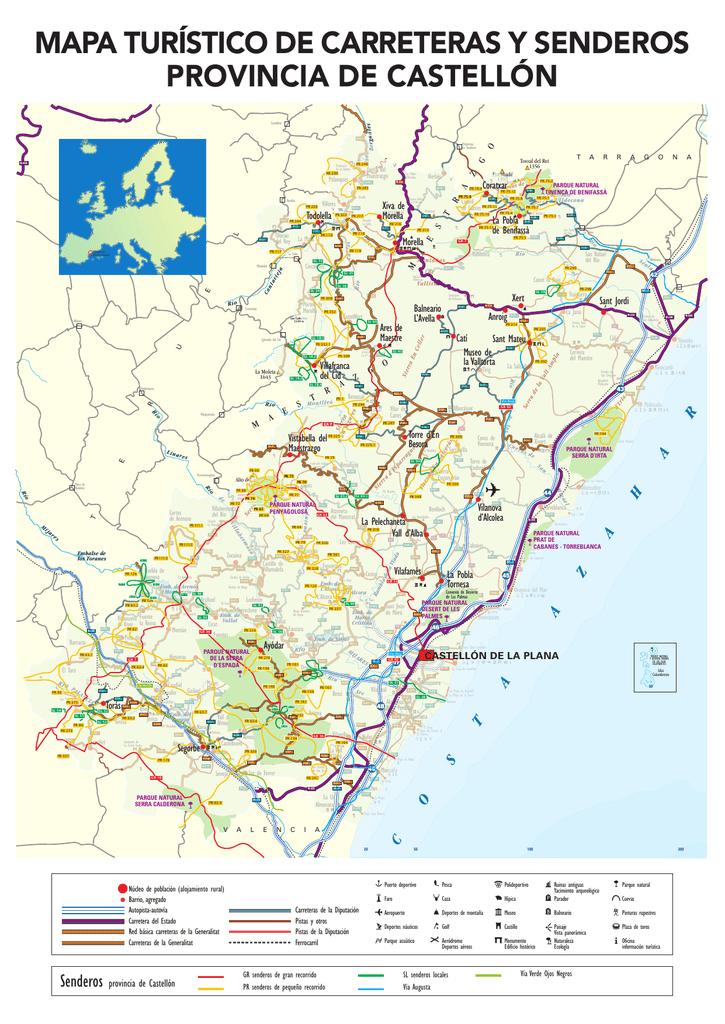 Provincia De Castellón Mapa.Mapa Turistico De Carreteras Y Senderos Provincia De Castellon