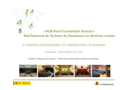 «RCB‐Rural Convention Bureau» Red Nacional de Turismo de