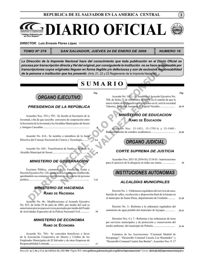 Enero indd La Diario Salvador De Oficial República 24 El 0kPX8nOw