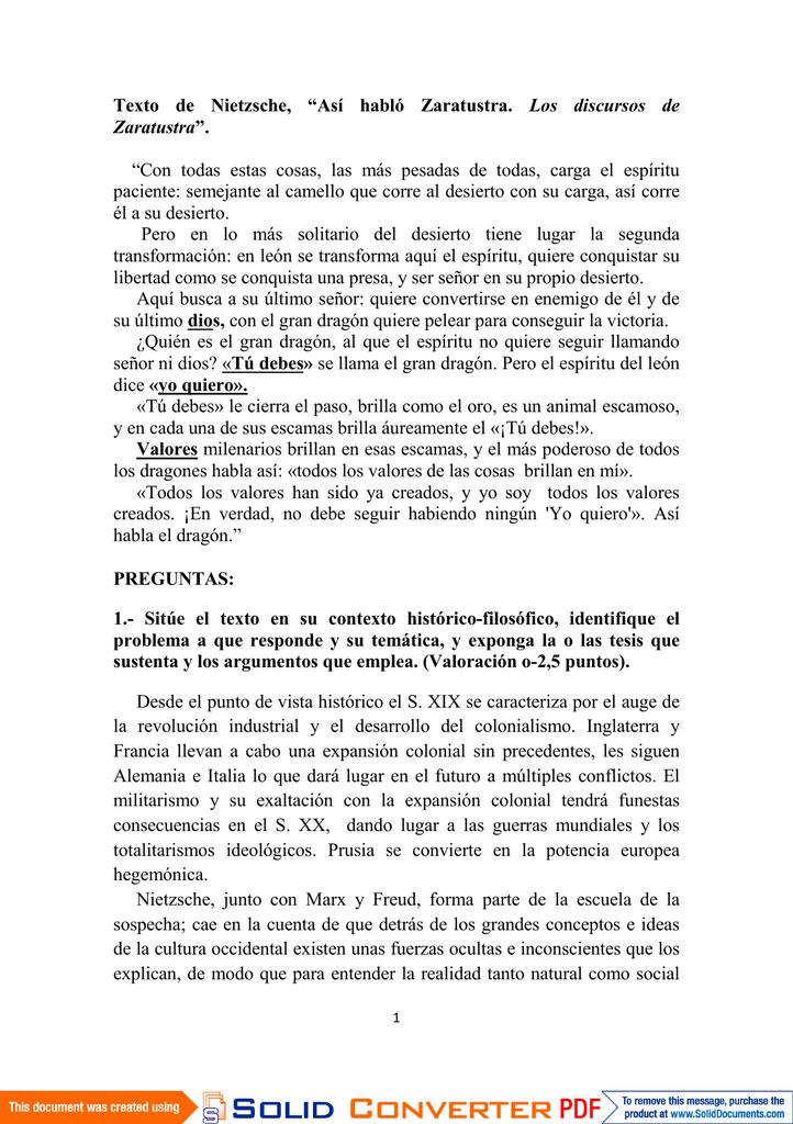 Texto De Nietzsche Así Habló Zaratustra Los Discursos De
