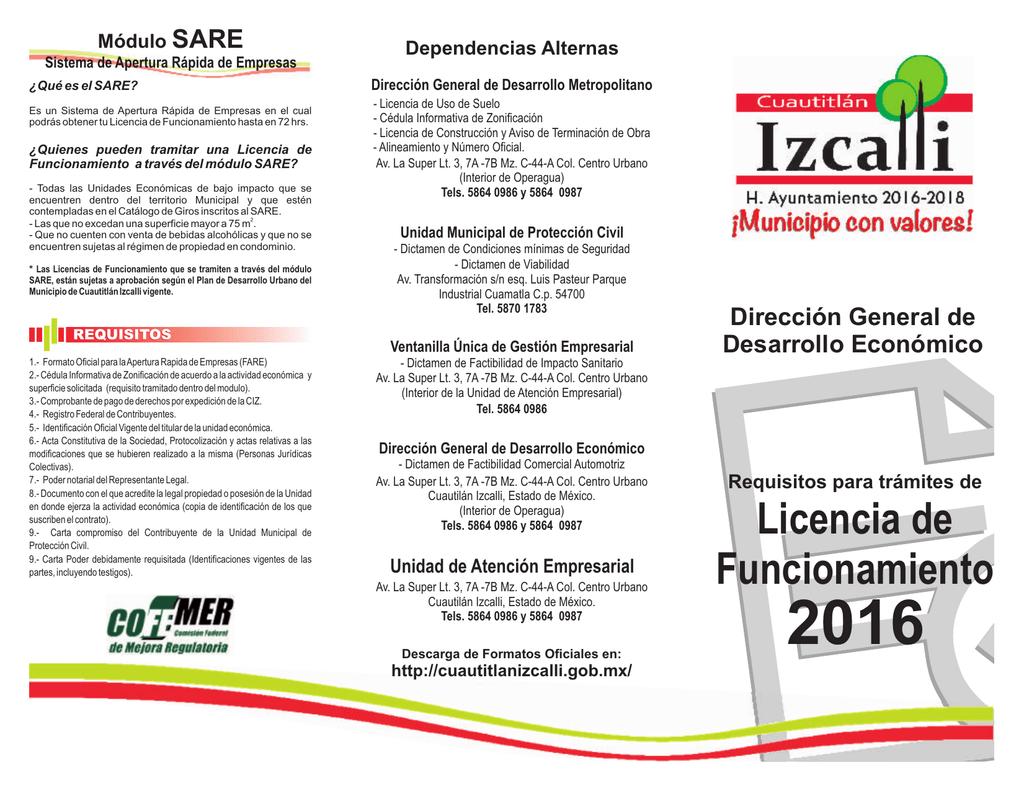 Requisitos Para Trámites De Licencia De Funcionamiento 2016