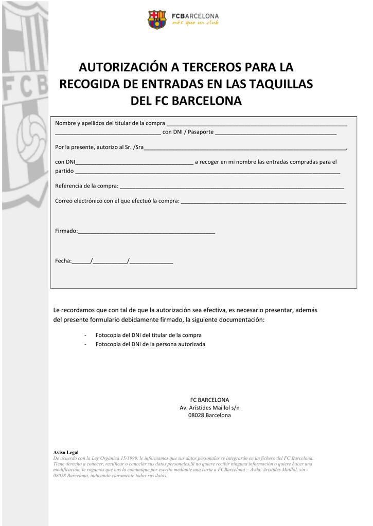 Modelo de autorizacion para recogida en correos
