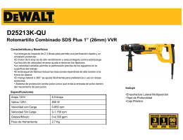 "D25213K-QU Rotomartillo Combinado SDS Plus 1"" (26mm) VVR"