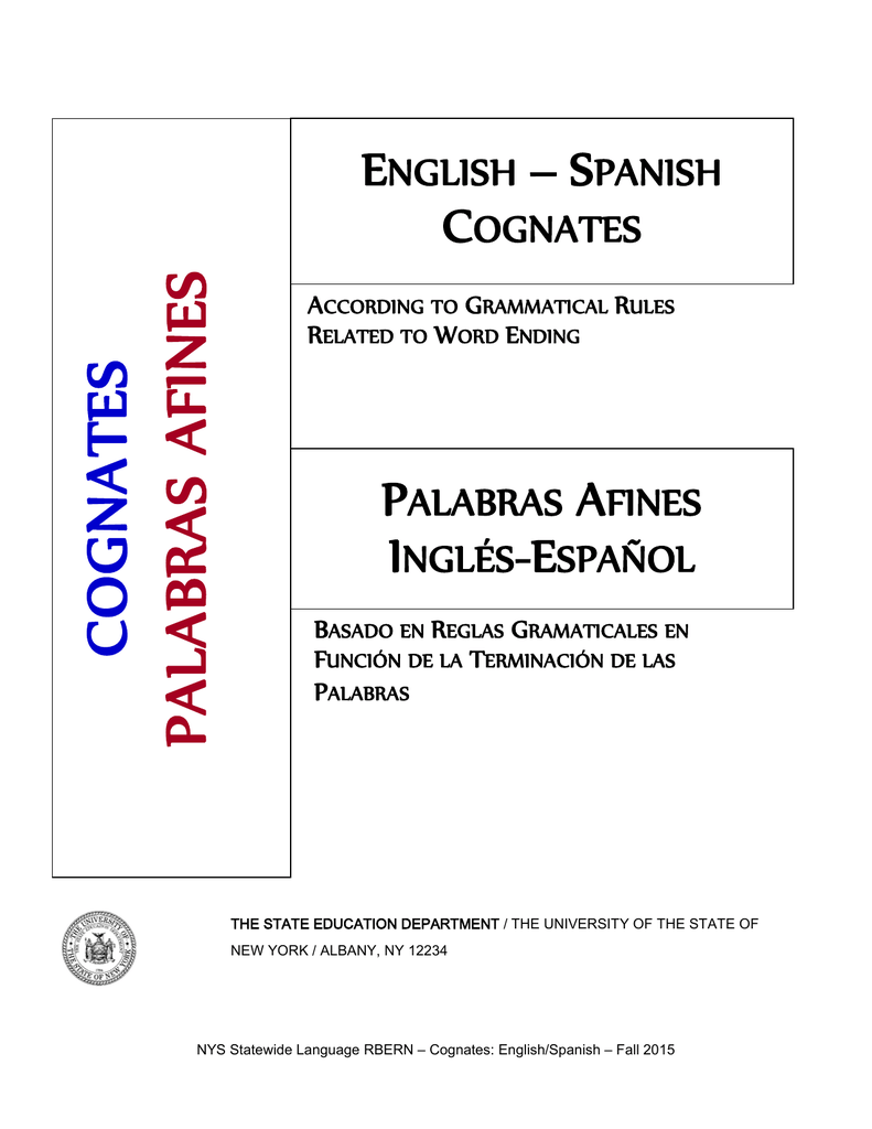 English - Spanish Cognates: Rules aCCORDING TO Word