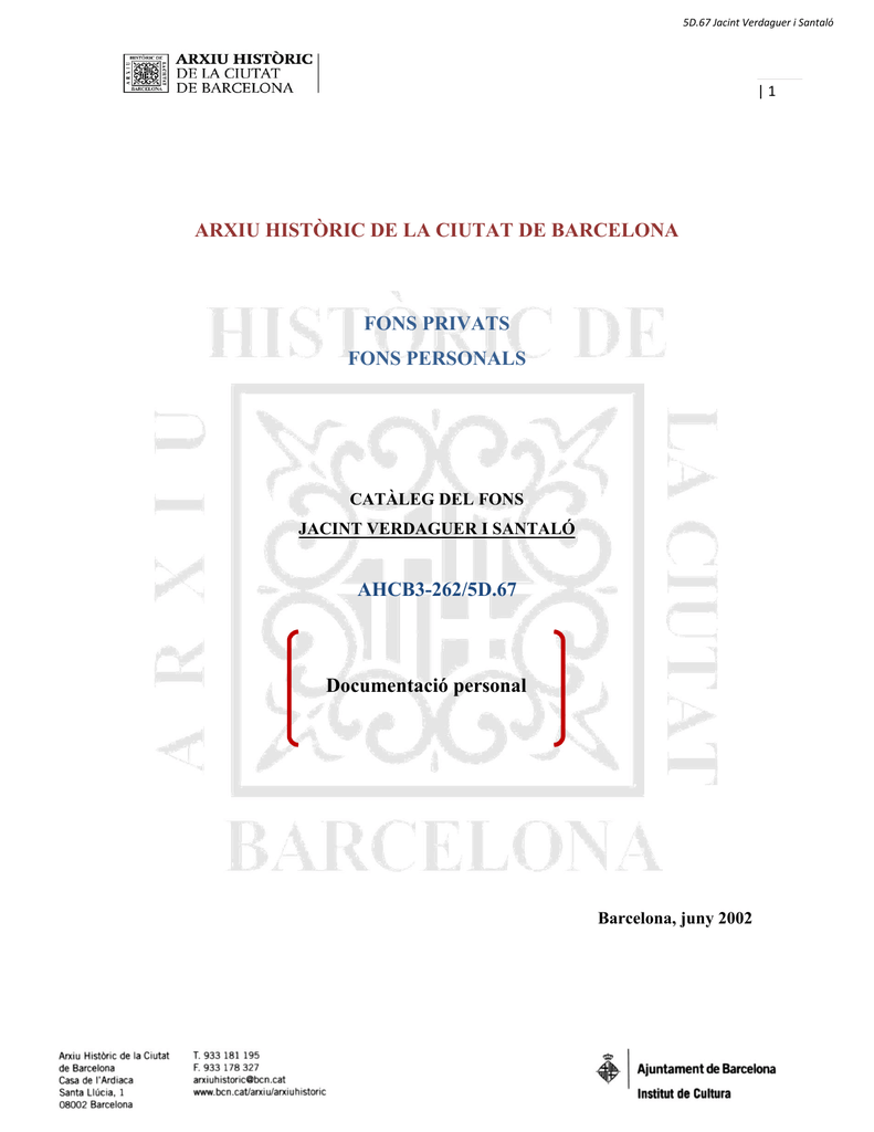 Arxiu Històric De La Ciutat De Barcelona Fons Privats