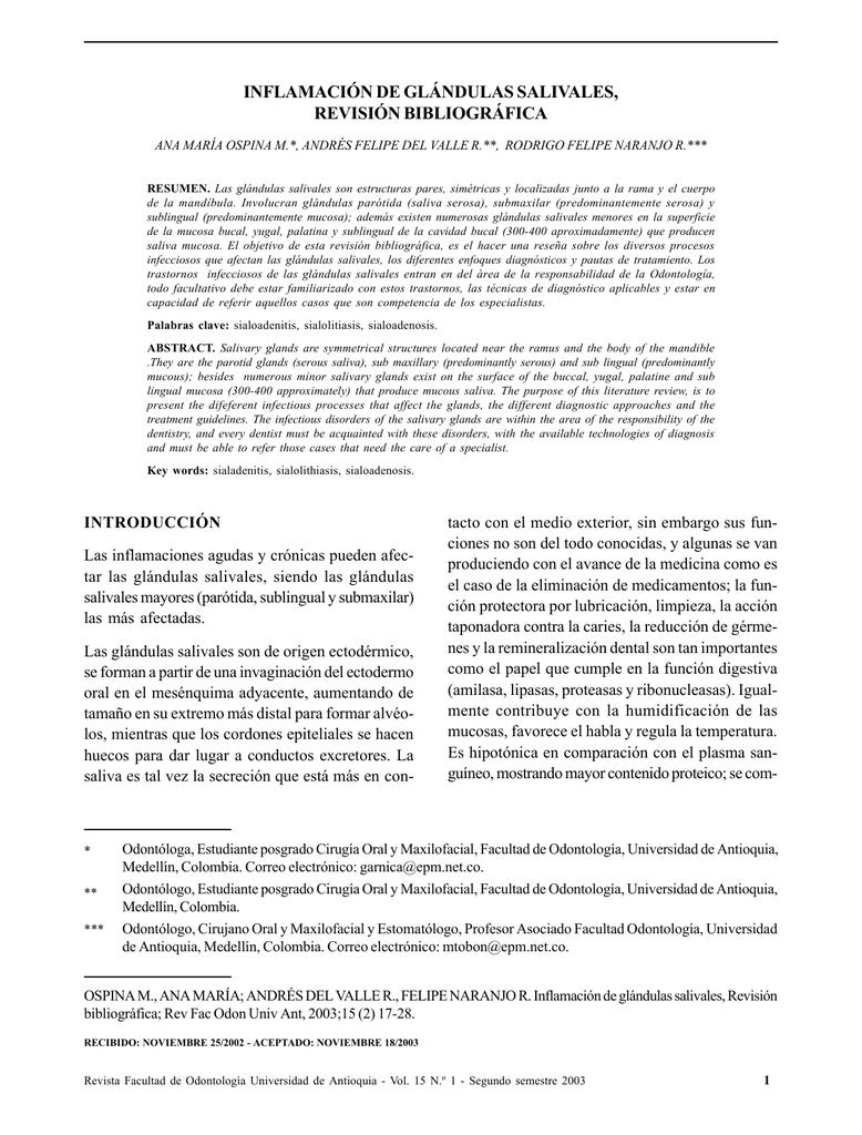inflamación de glándulas salivales, revisión bibliográfica
