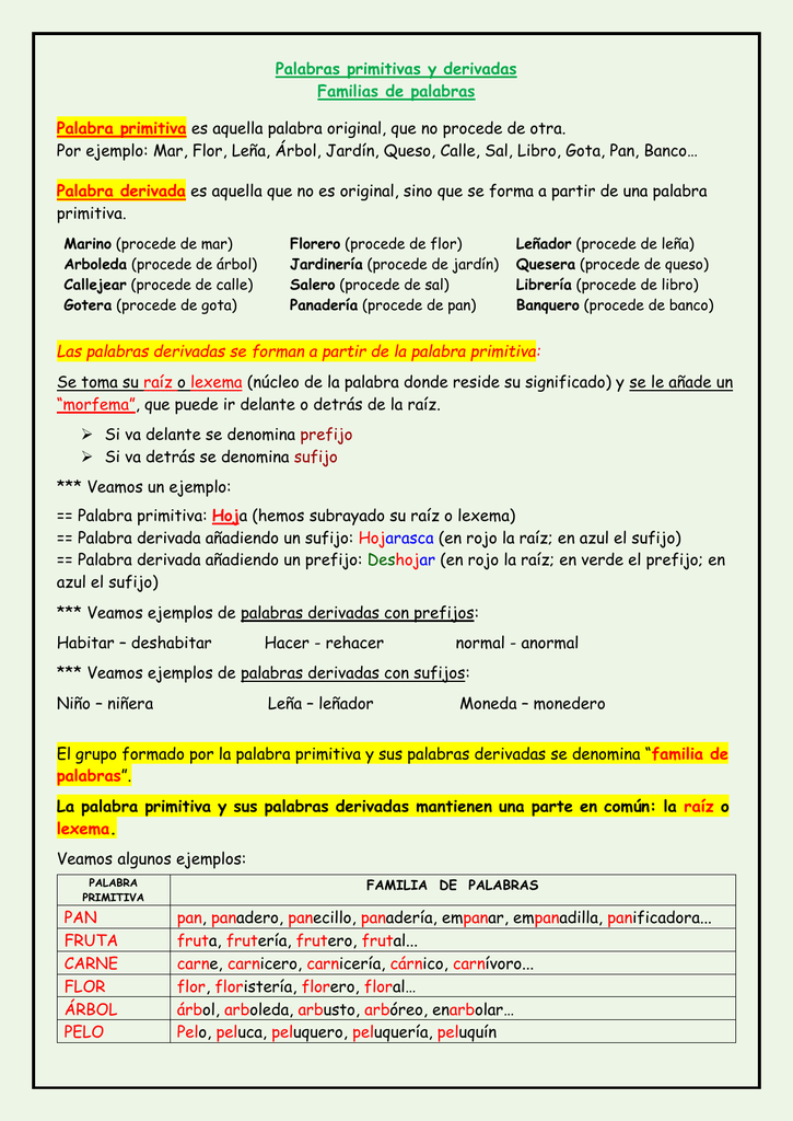 Palabras primitivas y palabras derivadas for Significado de la palabra arbol