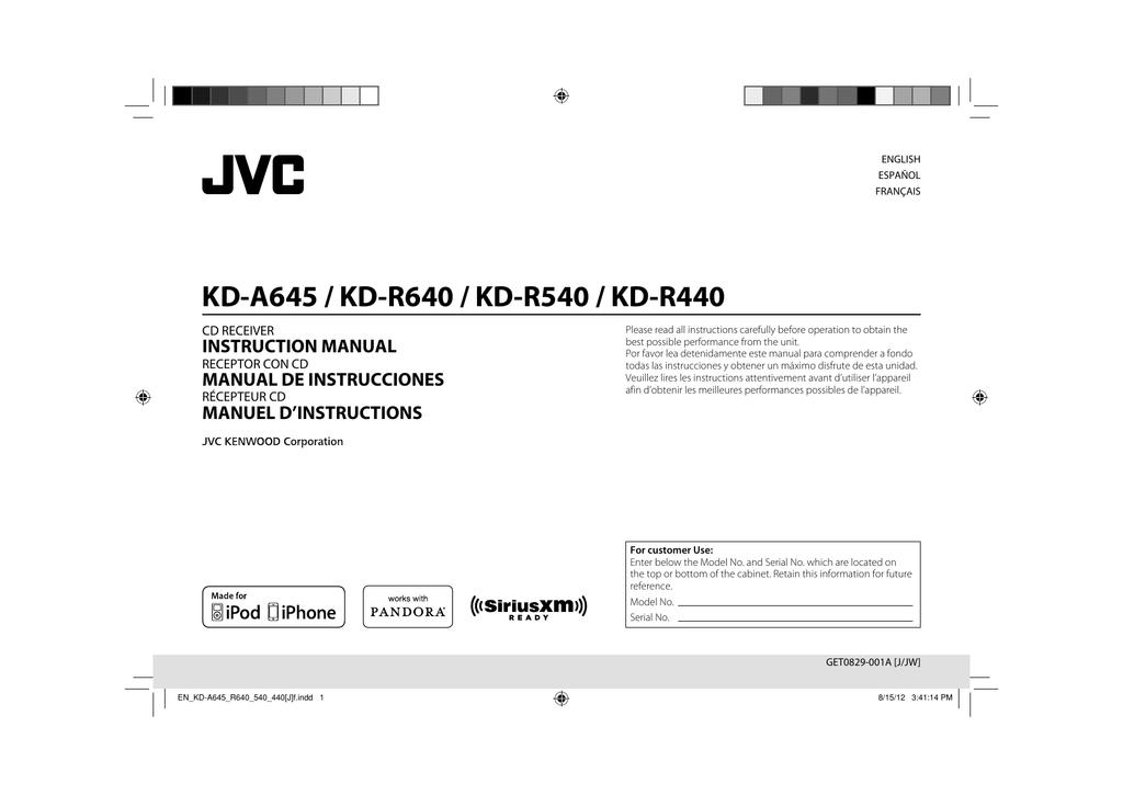 KD-A645 / KD-R640 / KD-R540 / KD-R440 on