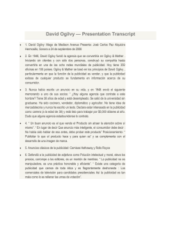 David Ogilvy — Presentation Transcript