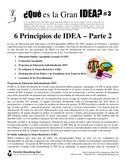 ¿Qué es la Gran IDEA? - Parents Reaching Out