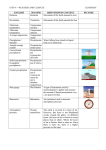 UNIT 4 – WEATHER AND CLIMATE GLOSSARY ENGLISH
