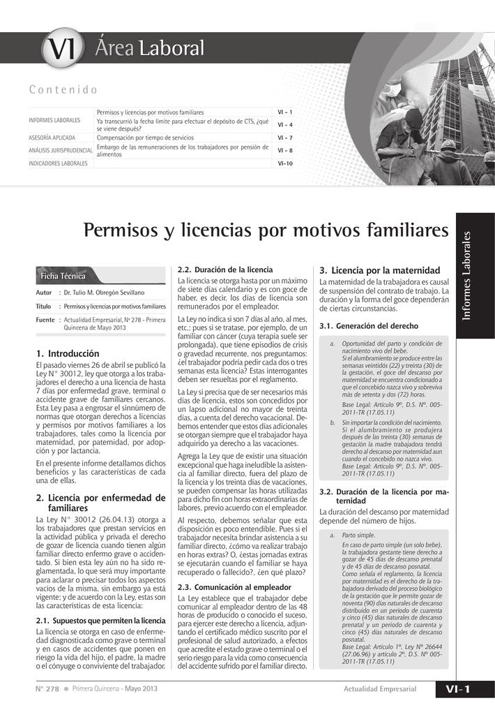 VI Permisos y licencias por motivos familiares
