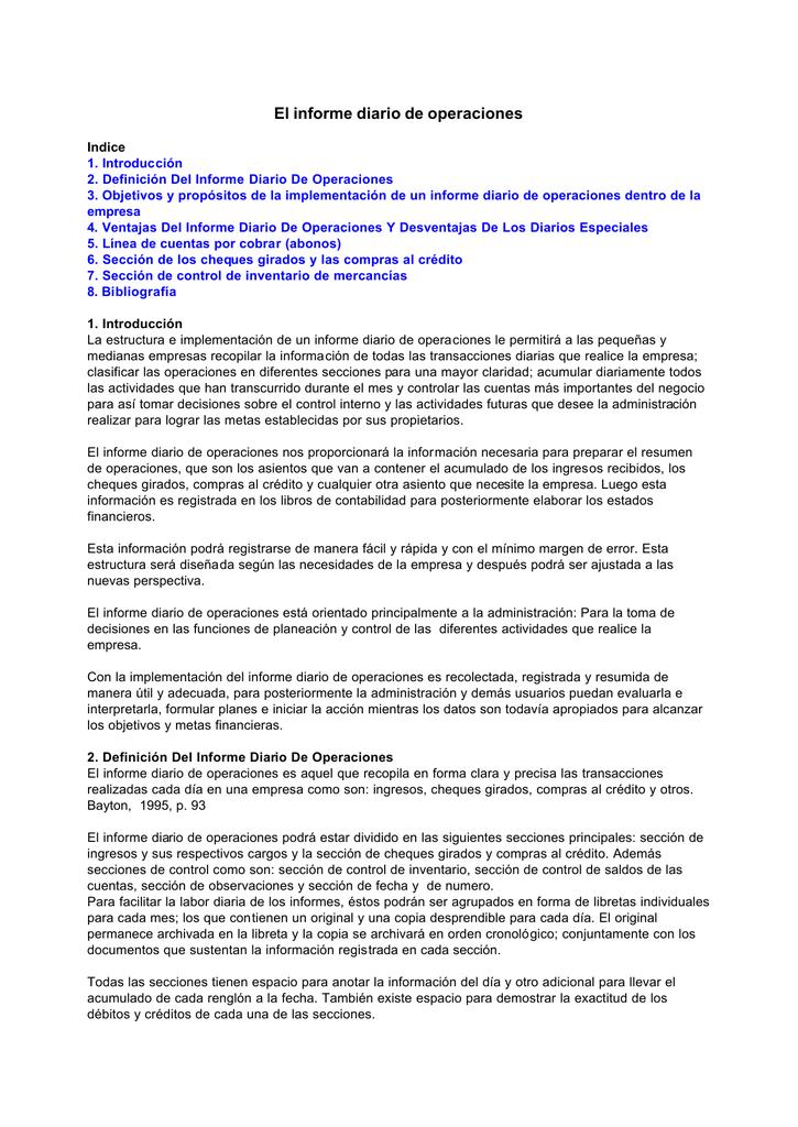 El Informe Diario De Operaciones